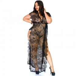 LEG AVENUE LACE KAFTEN ROBE AND THONG 1X-2X