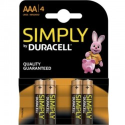 DURACELL SIMPLY ALKALINE BATTERY AAA LR03 / MN2400 4 UNITS