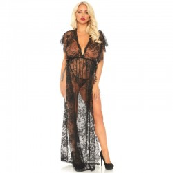 LEG AVENUE 2 PIECES SET LACE KAFTEN ROBE AND THONG