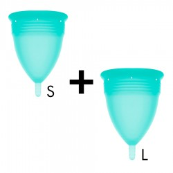 STERCUP MENSTRUAL CUP SIZE S + SIZE L PACK AQUAMARINE